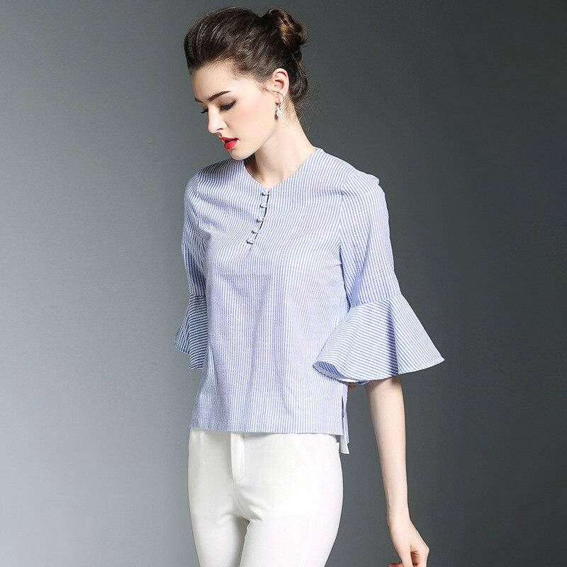 f04eeed0fc Lino De Verano En Camisa Forma Y Blusa 2018 Rayas Más Tamaño Las  Temperamento Algodón Blusas Nueva Burdully Mujeres PnqvwOEzOx