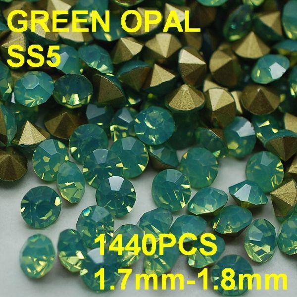 SS5 1440pcs/bag  Green Nail Art Tips Crystal Glitter Rhinestone DIY Decoration Nail Size 1.7mm-1.8mm Opal Rhinestone