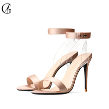 Купить с кэшбэком GOXEOU2019 Spring and summer new satin round - head sandals with high - heeled stilettos size32-46  Free Pos