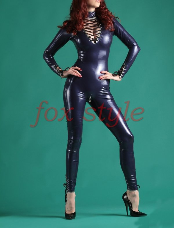 sexy latex zentai latex catsuit jumpsuit for ladies in purple with crotch zipper