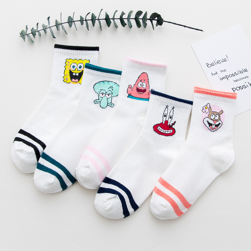 Fashion Cartoon Character Cute Short   Socks   Women Harajuku Cute Patterend Ankle   Socks   Hipster Skatebord Ankle Funny   Socks   Female