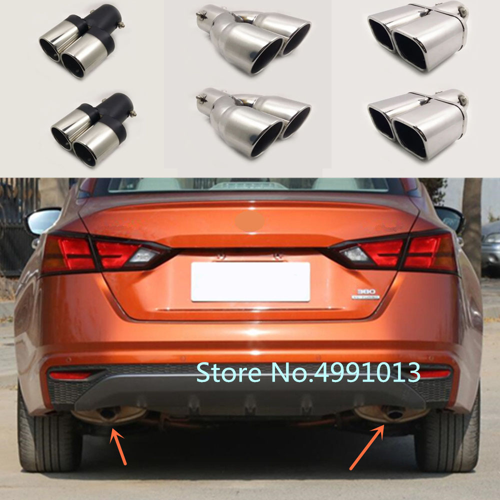for nissan teana altima 2019 2020 car body styling cover stainless steel muffler pipe outlet dedicate exhaust tip tail 2pcs