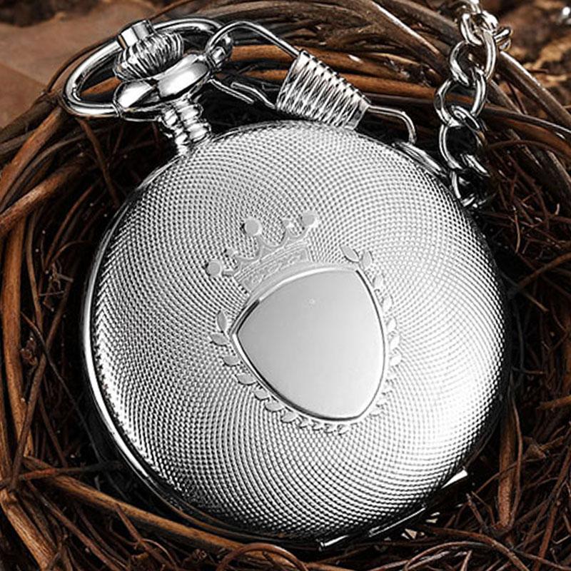 Retro Engraved Quartz Pocket Watch Fob Chain Clock For Men Women Steampunk Roman Numerals Necklace Flip Watches Drop Shipping