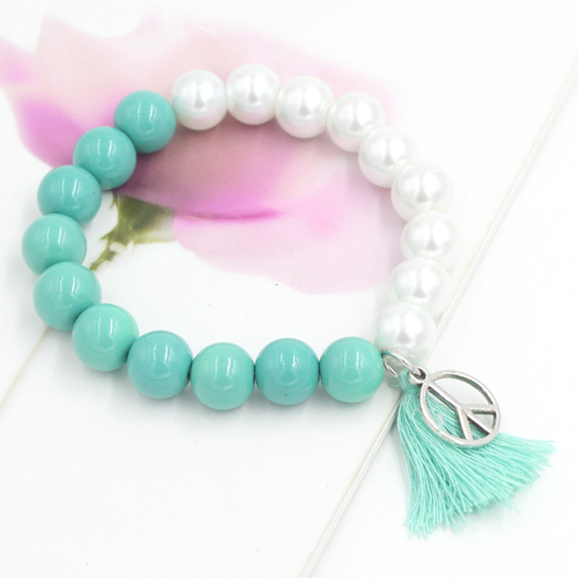 with bead free new item stretch bracelet bracelets glass jewellery arrival shipping beaded peace tassel round
