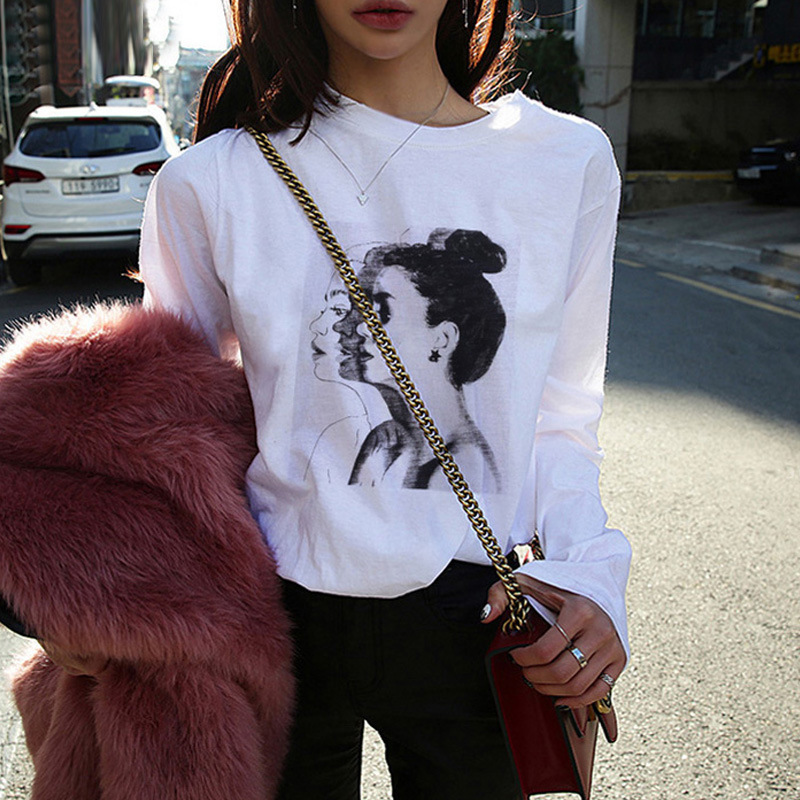 New Fashion T-shirts Woman Spring Summer Girls Print Full Sleeve O-Neck Loose Women Tops Slim Fit Soft Women Tshirt Plus Size