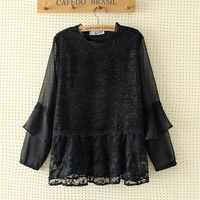 Plus Size Women Blouse Black Lace Mesh Ladies Party Blouses