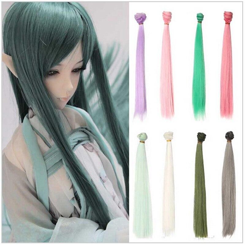 100% Quality 10pcs/lot Wholesale 30cm 30cm Diy Handmade Doll Hair Straight Sd Bjd Wig 1/3 Pink Green