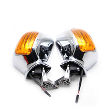 Motorcycle Side Mirrors Orange Signal For Honda Goldwing GL1800 F6B 2013-2017 motorcycle led front side turn signal blinker case for honda goldwing gl1800 gl 1800 2001 2017 f6b 2013 2018