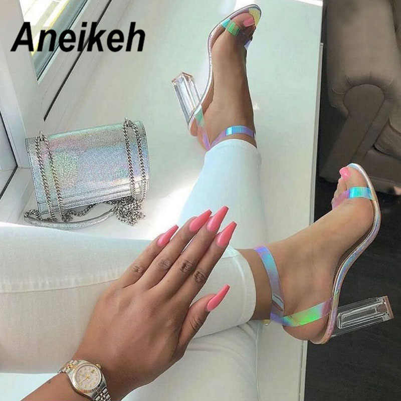 Aneikeh 2019 Novelty PVC Sandals Women Open Round Toe Square High Heels Transparent Buckle Strap Clear Glass Heel PU Dress 35-40