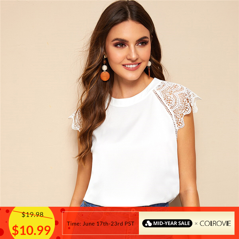 COLROVIE White Solid Contrast Lace Cuff Keyhole Back Elegant   Blouse     Shirt   Women Clothes 2019 Summer Office Ladies Tops   Blouses