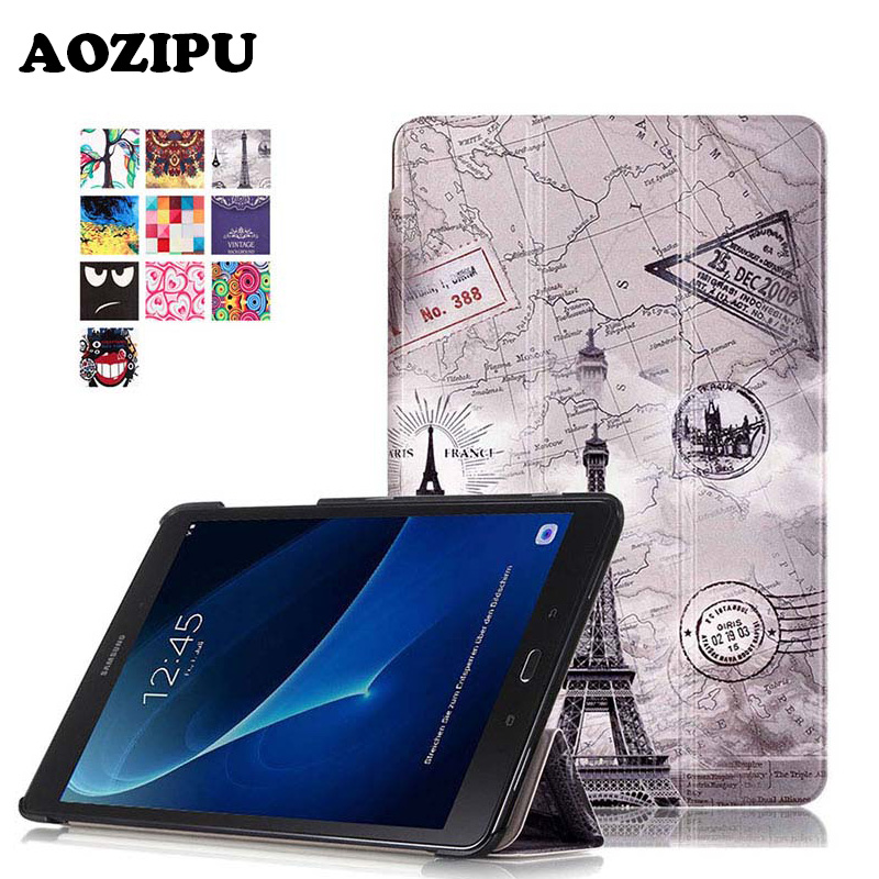Magnetic Print Folding Flip PU Leather Case Cover for Samsung Galaxy Tab A 10.1 2016 T580 T585 T580N T585N Skin Tablet Case luxury flip stand case for samsung galaxy tab 3 10 1 p5200 p5210 p5220 tablet 10 1 inch pu leather protective cover for tab3
