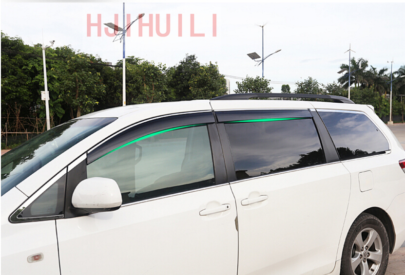 Car Styling for Toyota Sienna 2014 2015 2016 2017 2018 Chrome Stripes Window Visor Vent Shades Sun Rain Guard Deflector 4pcs 2015 2017 car wind deflector awnings shelters for hilux vigo revo black window deflector guard rain shield fit for hilux revo