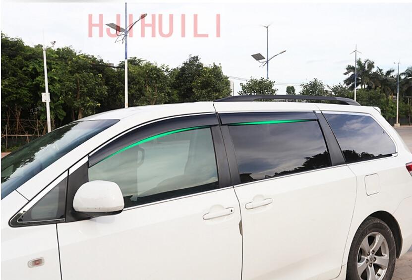 Car Styling for Toyota Sienna 2014 2015 2016 2017 2018 Chrome Stripes Window Visor Vent Shades Sun Rain Guard Deflector 4pcs with type window visor vent shades sun rain guard deflector for mercedes benz gle coupe c292 2015 2016