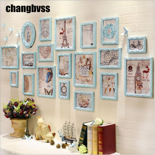 European Style Blue White Wall Hanging Photo Frames 19 Pcs Set Home Decor Picture Frame