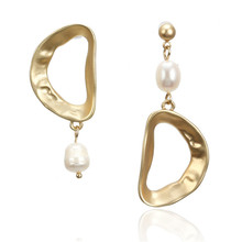 ECODAY Asymmetrical Metal Pearl Earings Women Gold Color Stud Earrings Oorbellen Pendientes Mujer Brincos Ohrringe Jewelry все цены