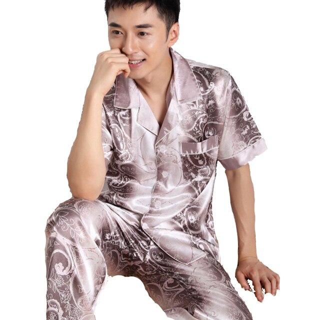 2018 sommer schlafanzug männer seide pyjama sets kurzarm pijamas ...