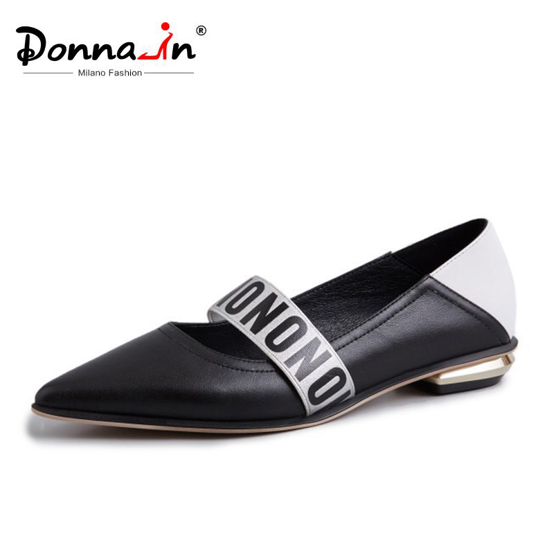 Donna in Women Genuine Leather Pointed Toe Flats Shoes Slip on Black and White Fashion Elegant
