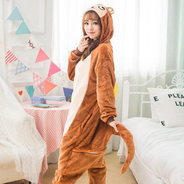 ผู้ใหญ่ Kigurumi Onesie อะนิเมะผู้หญิงเครื่องแต่งกายลิงสีน้ำตาลฮาโลวีนคอสเพลย์การ์ตูนสัตว์ชุดนอนฤดูหนาว Warm Hooded ชุดนอน