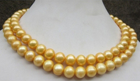 huge AAA 9 10 mm genuine south sea golden pearl necklace 32 inch Gold Clasp Factory Wholesale price Women Gift word Jewelry