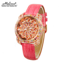 Luxury Melissa Lady Women's Watch Full Rhinestone Crystal Fashion Hours Dress Bracelet Clock Lucky Flower Girl's Gift Box