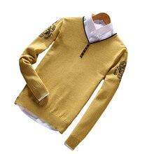 Autumn Top Cashmere Sweaters for Men Casual Plaid O-neck Emboridery Logo Designer Sweater 2018