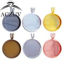 100pcs Lot 10mm-25mm V-Shape Hanging Round Bezel Pendant Blank Trays Cabochon Cameo Base Settings For Jewelry Making AP001