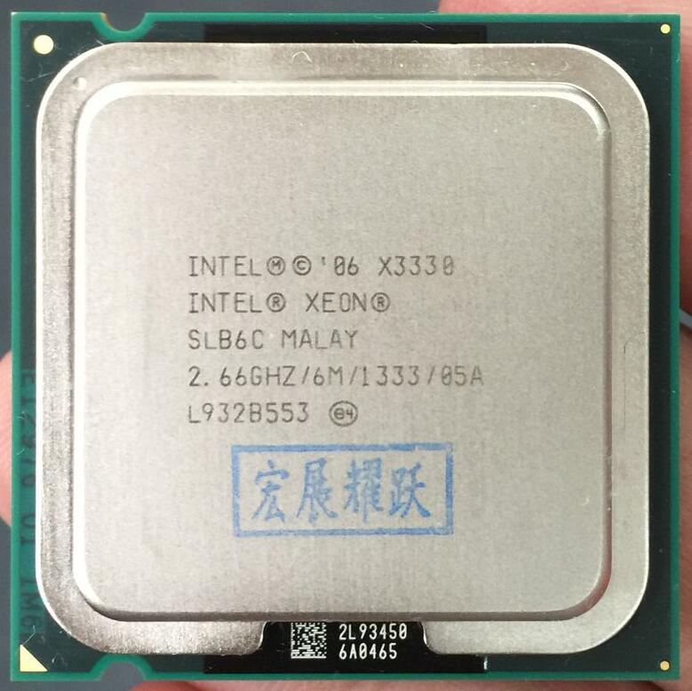PC Computer Intel Xeon X3330 Quad Core 2.66GHz LGA 775 95W 6M Cache Server CPU Scrattered Piece Free Shipping  SLB6C EO
