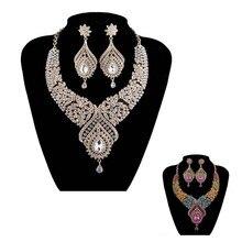 Declaración de La India del estilo aretes Collar Nupcial de la boda establece Partido Tipo Gota de Agua Collar de Cristal Plateado del Oro Conjuntos de Joyas