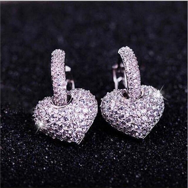 Swour New Jewelry S925 Sterling Silver Cubic Zircon Cz Wedding Gift Crystal Heart Shape Hoop Earrings