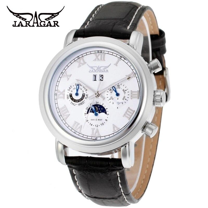 JARAGAR lune Phase Design calendrier affichage bracelet en cuir noir hommes montre-bracelet automatique montres mécaniques lumineuses