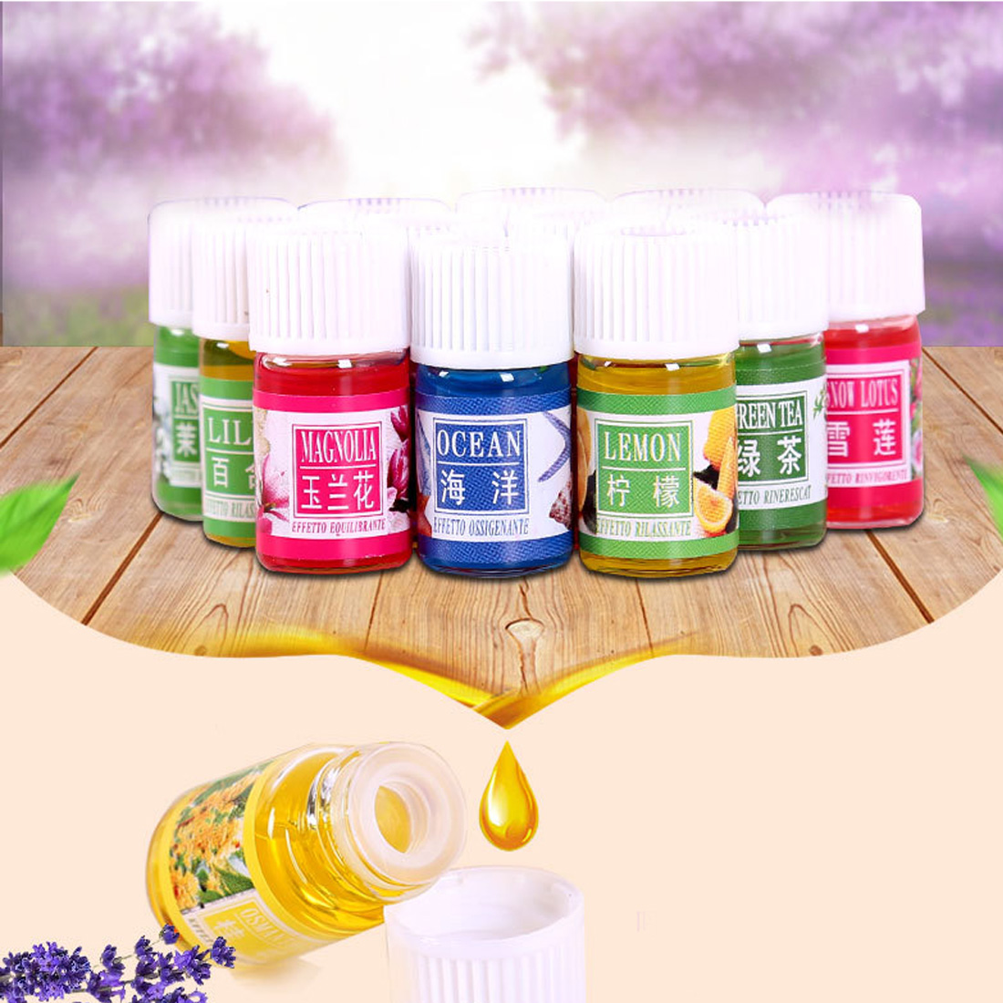 Top 12PCS/Set 3ml Natural Plants Aromatic Fragrance Essential Oil Water-soluble Flavor Oil Spa Massage Oil Aromatherapy Supply