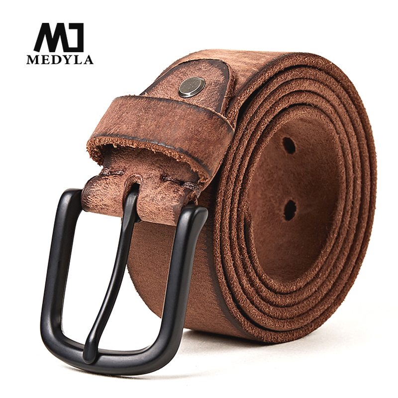 MEDYLA New Retro Design Leather Belt Original Leather Handmade Men's Jeans Borwn Belt Men's Gift Top genuine leather Strap MD544