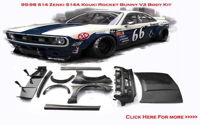 Fiber Glass Frp Rocket Bunny V2 Style Bodykits Fit For 95 98 S14