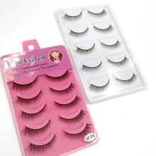 5 Pairs False Eyelashes Natural Thick Crisscross  Plastic Black Stem Eye Makeup Tools