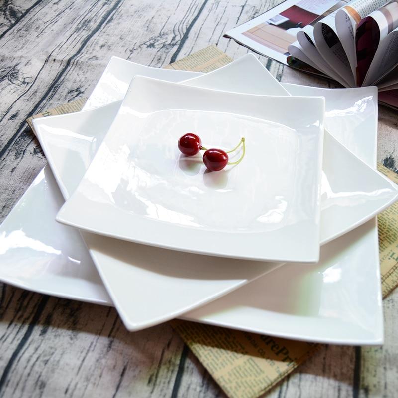 Simple pure white Western dish creative salad dessert Plate color glaze ceramic square fruit plate sushi plates Plato