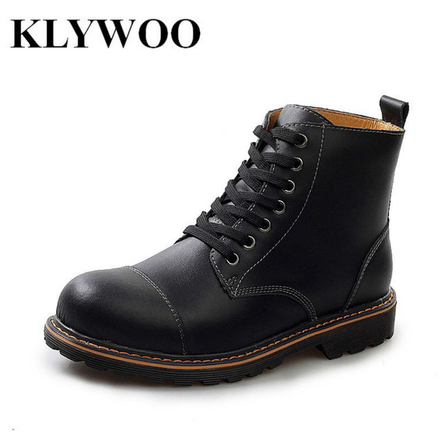 Men's Leather Boot Men Outdoor Waterproof Rubber Snow Boots Leisure Martin Boots England Retro Shoes For Men Zapatillas Hombre