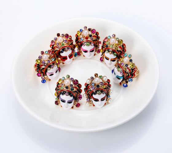 Chinese style personality exquisite high quality Peking opera mask tao ma tan (a female warrior role) adjustable ring for female
