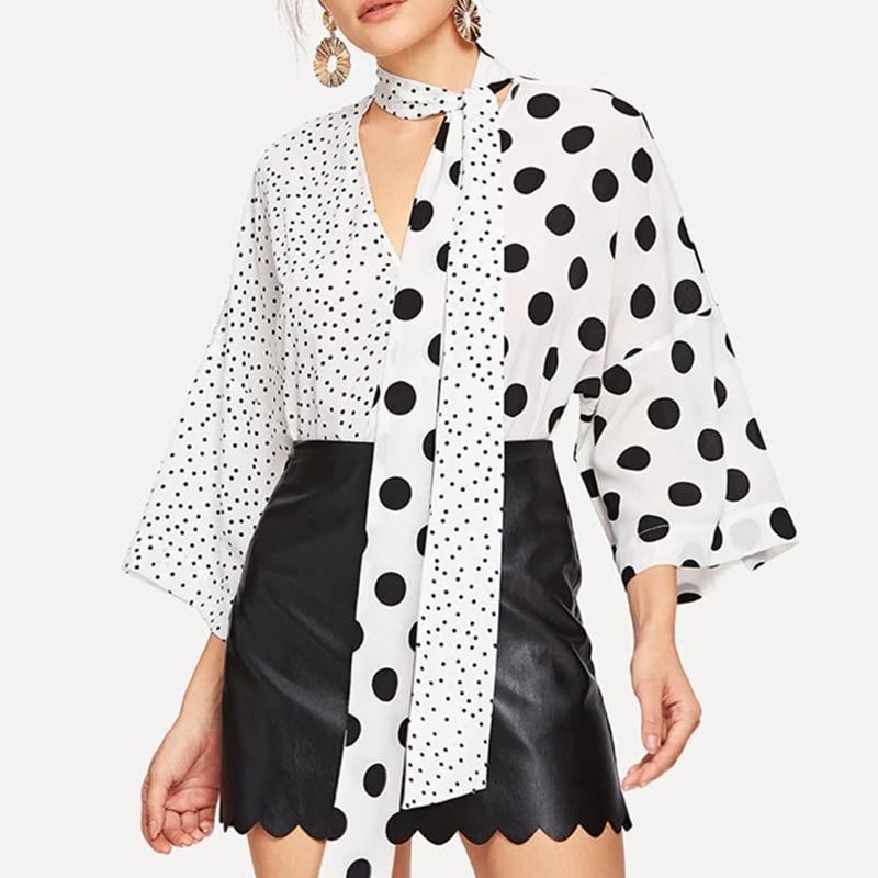 Spring and Autumn Black White Polka Dot Print Shirt Fashion V-neck Strap Casual Tops Women Streetwear Party Elegant