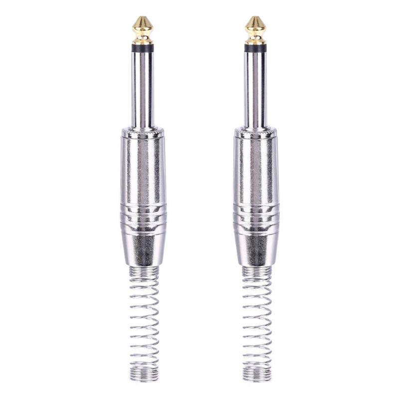 ALLOYSEED 2Pcs Nickle Plated Alloy 6.35mm 6.5mm Jack Male