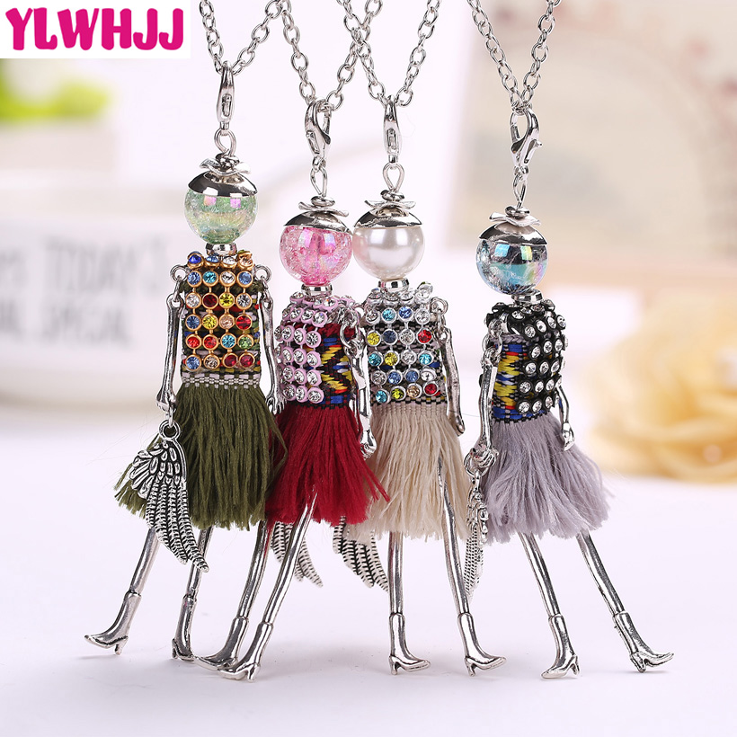 YLWHJJ New Lovely Multicolor Rhinestone Doll Tassel Long Necklaces For Women Hot Brand Girls Pendant Metal Maxi Fashion Jewelry