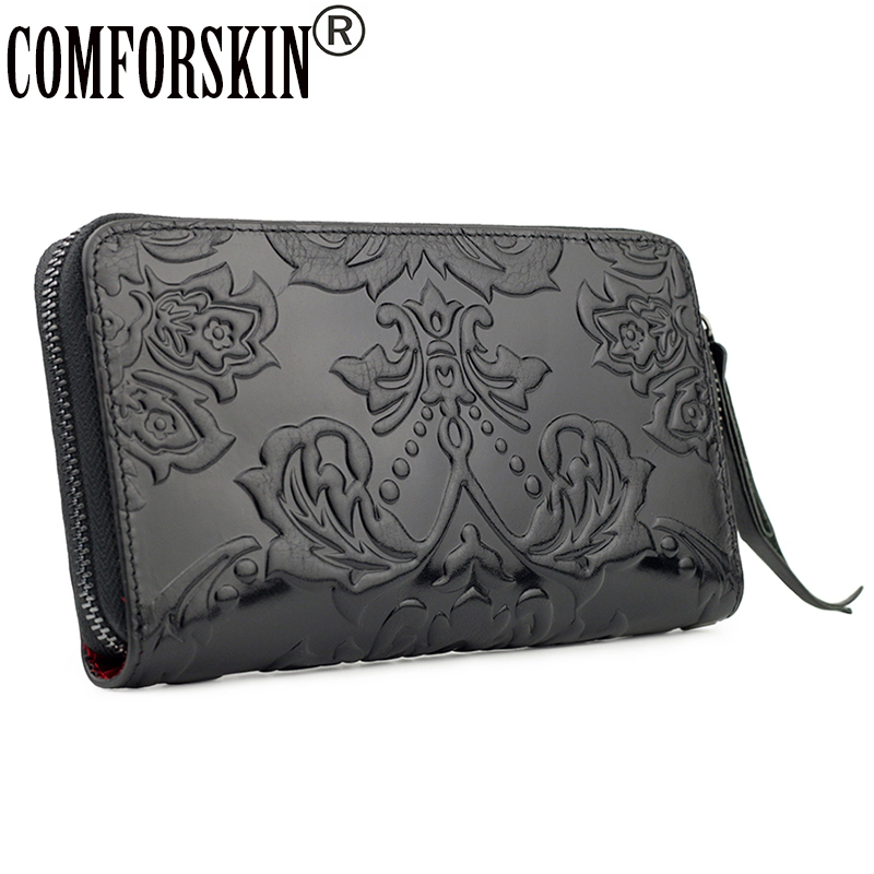COMFORSKIN Cowhide Leather Unique Embossing Flower Long Nationtal Women Organizer Wallets New Arrivals Ladies Clutches Purses
