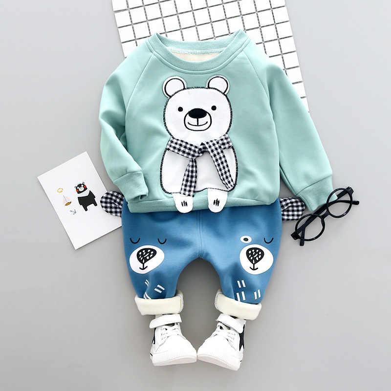 2019 ベビー少年少女服セット新冬のファッションスタイル綿フリース O ネックフルスリーブクマ子供服セット 1 -3 年