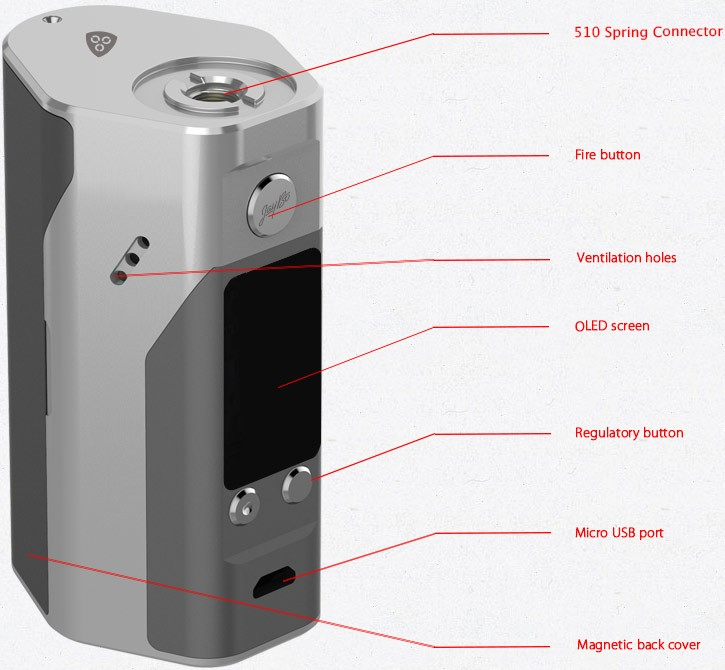 100% Original Wismec Reuleaux RX200S TC 200W OLED Screen Box Mod with Upgradeable Firmware Reuleaux RX200S-5