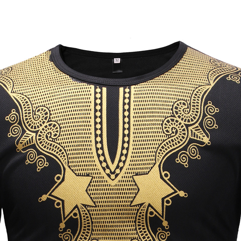 2 Colors Adult Male African Dashiki Print Casual Long Shirt O-Neck Split Neck Tee Top With Full Cut Sleeves Clothes For Men 2XL (9)