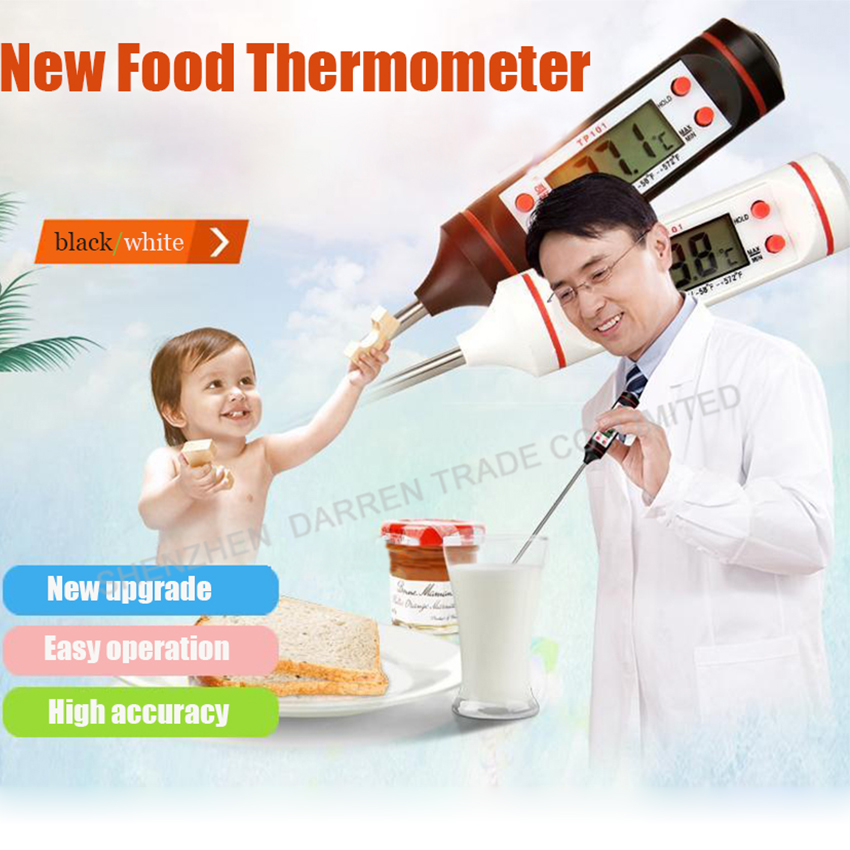 50PC Digital Cooking Food Probe Meat Household Thermomete Kitchen BBQ 4 Buttons with 1.5V(AG13) Battery black/white Hot