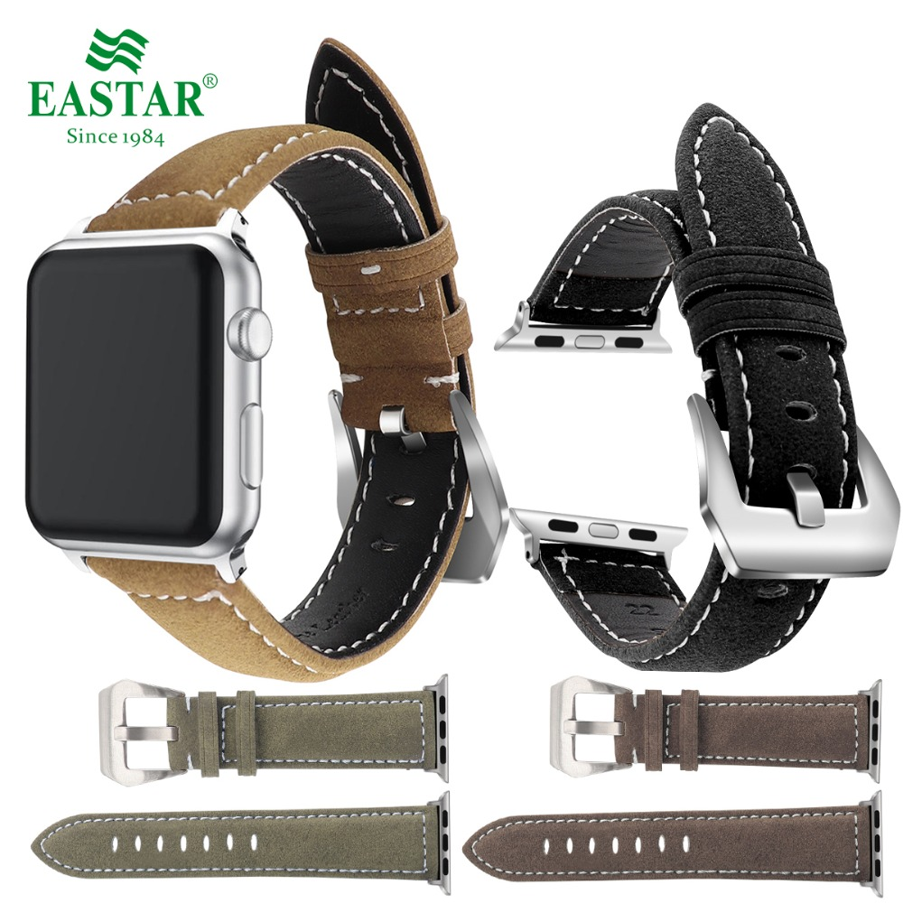 Eastar Black Genuine Leather Watchband for Apple Watch Band Series 3/2/1 Sport Bracelet 42 mm 38 mm Strap For iwatch Band