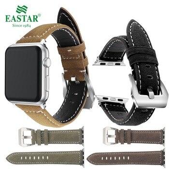 449415ede3877 Eastar Siyah Hakiki Deri Kordonlu Saat apple saat bandı Serisi için 3/2/1  Spor Bilezik 42mm 38mm Kayış için iwatch bileklik