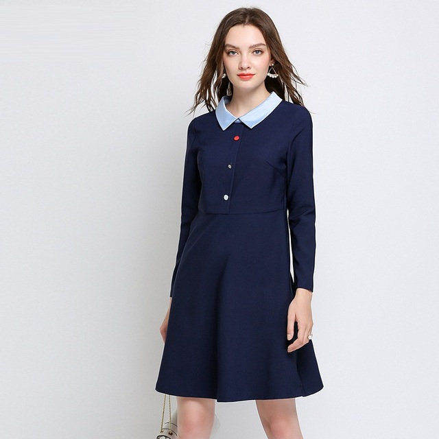 Free ship Plus Size Women Fall Dress Peter pan Collar A line dress ...