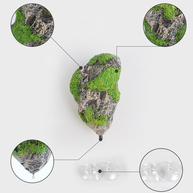 Hot Sale Resin Aquarium Decoration Flying Stone Pumice Fish Tank Ornament Moss Floating Rock For Aquarium Decoration 2 Sizes