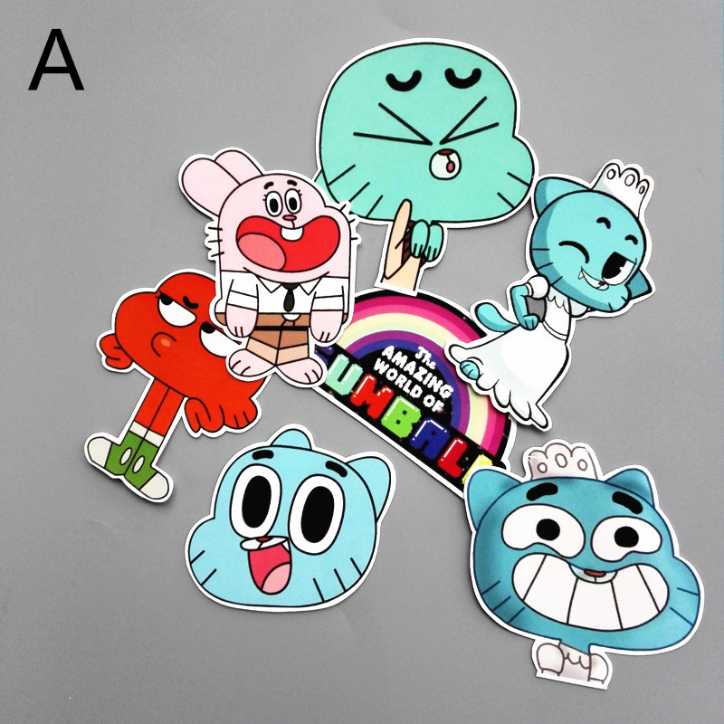 7pcs/set The Amazing World of Gumball Darwin Watterson D.Va Reaper PVC Disposable Tattoo Stickers Phone Tablet Decal Waterproof
